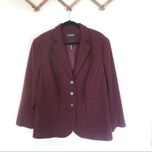 Ralph Lauren Maroon 3 button blazer jacket 18 W